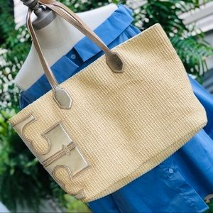 Tory Burch Stacked-T Straw Tote Bag